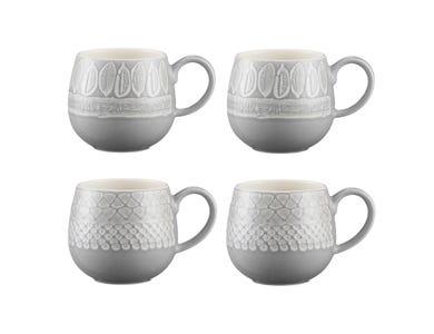 Impressions Set Of 4 Grey Mugs 350ml