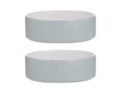 Linear Grey Set Of 2 Pet Bowls 15x5cm