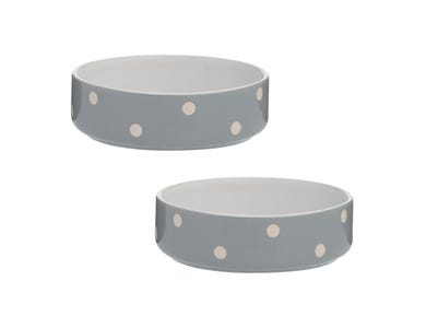 Polka Dot Grey Set Of 2 Pet Bowls 13cm