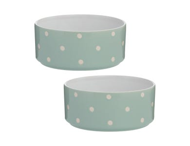 Polka Dot Sage Set Of 2 Dog Bowls 18cm