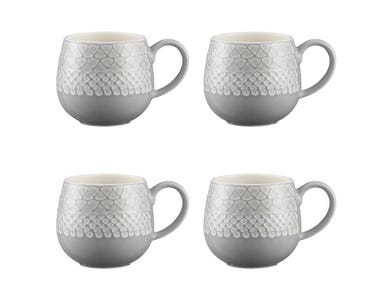 Impressions Set Of 4 Grey Organic Mugs 350ml