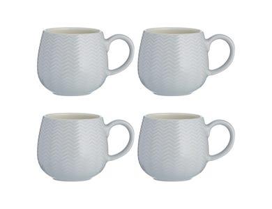 Embossed Chevron Set Of 4 Grey Mugs