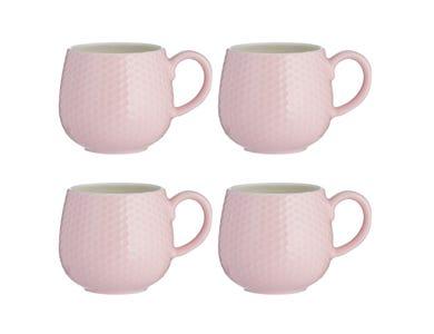 Embossed Honeycomb Set Of 4 Pink Mugs