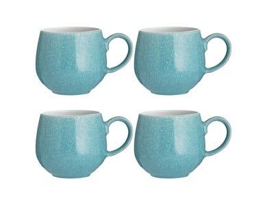 Reactive Set Of 4 Teal Mugs