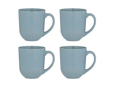 Linear Set Of 4 Blue Mugs