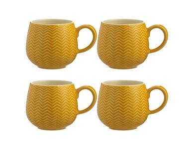 Embossed Chevron Set Of 4 Ochre Mugs