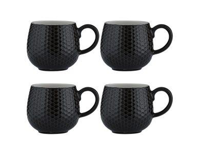 Embossed Honeycomb Set Of 4 Black Mugs