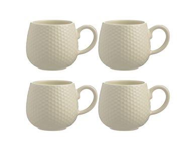 Embossed Honeycomb Set Of 4 Cream Mugs