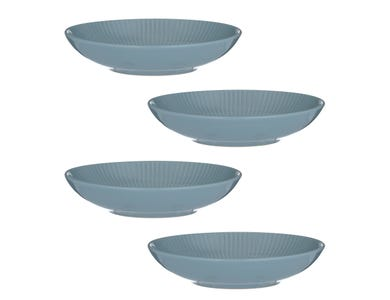 Linear Set Of 4 Blue Pasta Bowls