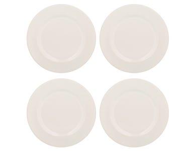 Linear Set Of 4 White Dinner Plates
