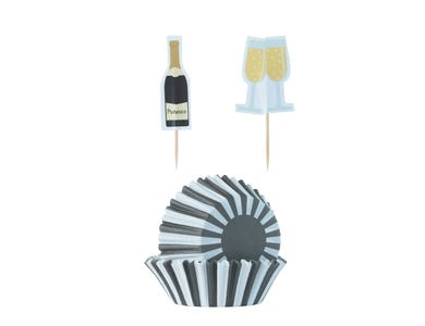 Image for 48 Prosecco Cupcake Case & Toppers