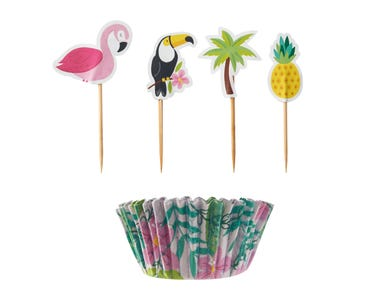 Image for 48 Tropical Cupcake Case And Topper Set