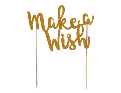 Image for Make A Wish Gold Glitter Topper