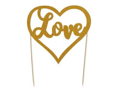 Image for Love Gold Glitter Topper