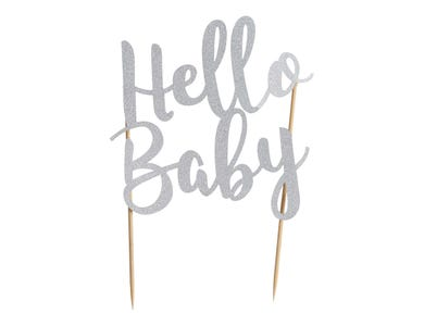 Image for Hello Baby Silver Glitter Topper
