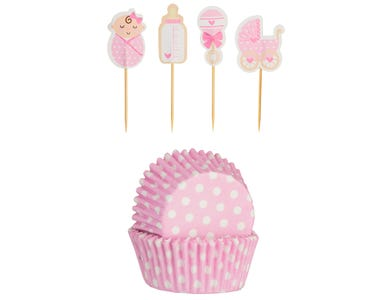 Image for 48 Vintage Baby Girl Cupcake Case & Toppers
