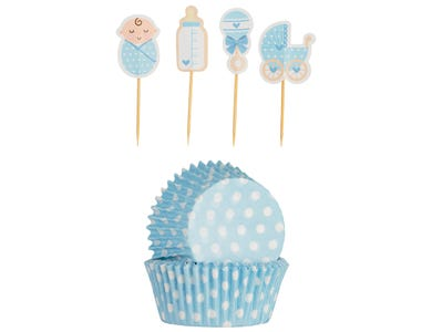 Image for 48 Vintage Baby Boy Cupcake Case & Toppers