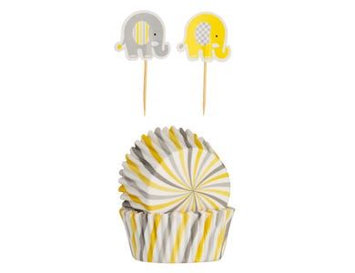 Image for 48 Elephant Cupcake Case & Toppers