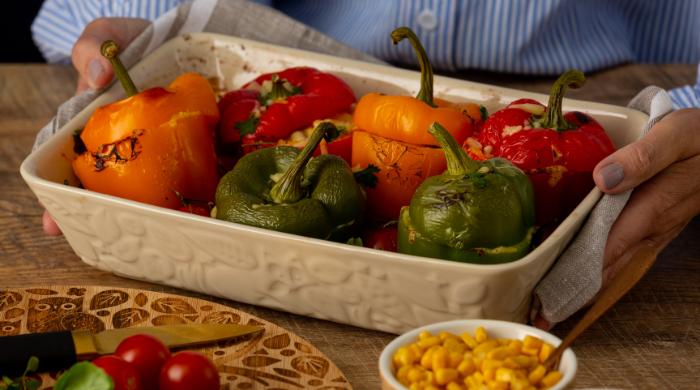 Mason Cash Stuffed Veggie Peppers